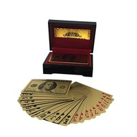 Customized USD 100 Colorful 24k Gold Playing Cards Poker Game Set With Mahogany Box 54 Card For Gift Or Decoration