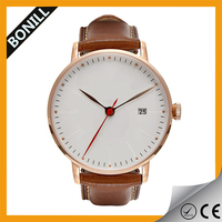 Fancy new design vogue waterproof genuine leahter 3 atm stainless steel back watch
