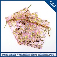 Wholesale 13x18cm Rose Golden Printing Light Pink Luxury Organza Drawstring Jewelry Pouches