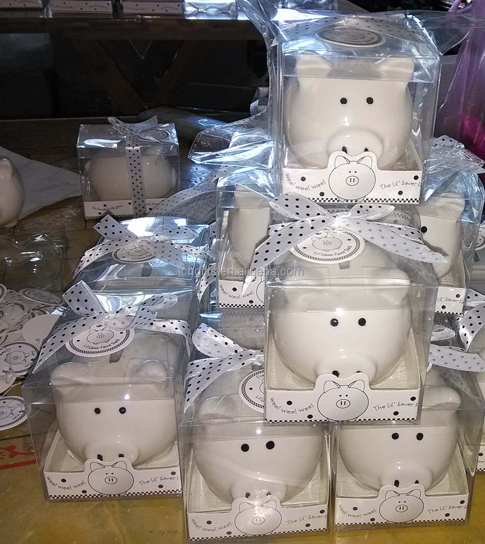 wholesale lovely baby shower return gifts ceramic piggy bank coin box