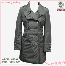 lady winter coat/double breasted buttoned cuff slim calf length women's coat