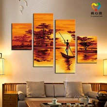 hot selling 4 piece canvas wall art nude sexy paintings nude african women paintings