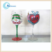 OEM christmas painted wine glass patterns with snowflake