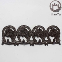 cast iron eight horse head shaped hooks for garden decoration