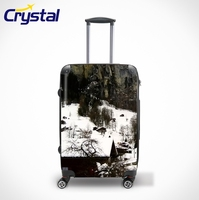 Printed Waterproof Hard-Shell ABS+PC Carry-on Wheeled Travel Trolley Luggage Sets/Colorful Zipper Luggage, Lady Trolley Luggage