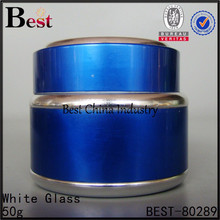 wholesale skin care children whitening face cream ja/container, fancy empaty containers, newest blue cover glass cosmetic cream