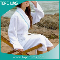 White cotton bathrobe and towel for spa,wrap around towel for woman