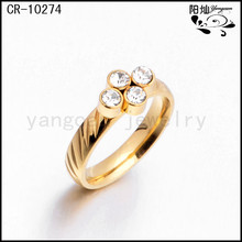 18k gold plated stainelss steel wedding engagement rings band with four stone
