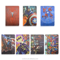 Kids Cartoon Super heroes 7Designs PU Leathe+TPU Shell Flip Stand Tablet Covers &Case For iPad Air 2 with Elastic Belt