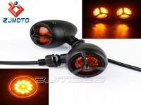 Custom Black Bullet LED Turn Signal Flasher Blinker Indicator Motorcycle Turn signal lights For Sportster Bobber Chopper GS