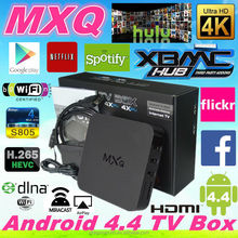 Hot selling mxq tv box preinstall XBMC amlogic S805 4+4core mxq s805 H.265 Decoder format mxq android tv box