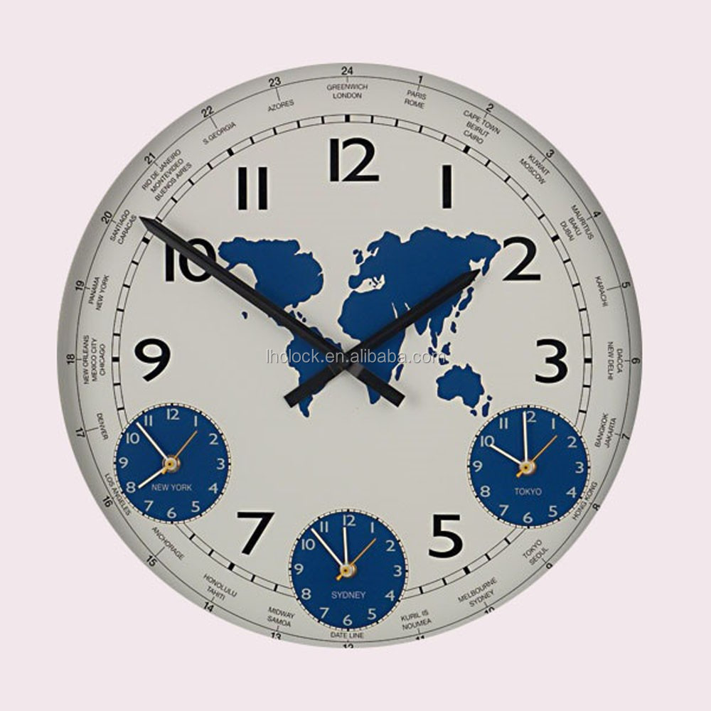 World wall clock three time zone wall clock buy world for World time zone wall clocks