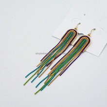 China wholesale jewelry designs trial colorful sead beads tassel earrings