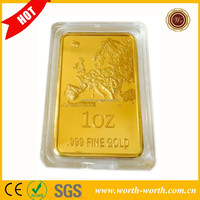 2015 New Products 1 OZ 24k Fine Gold Plated Bullion Bars/Coins, Gold Challenge Bars With Acrylic Box For Promotion