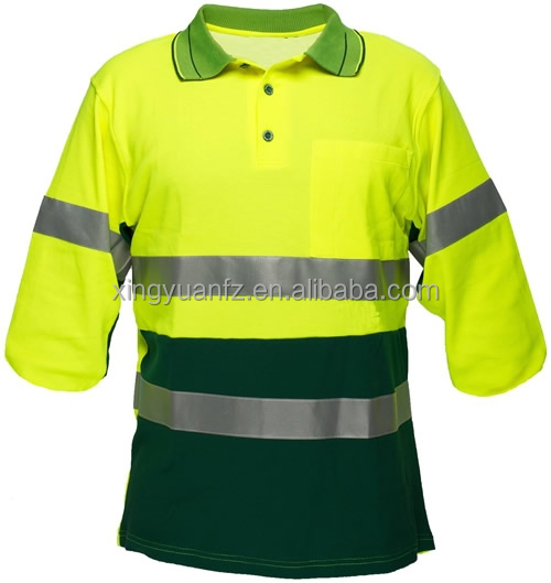 Construction reflective 100 polyester t shirt safety work for Work uniform polo shirts