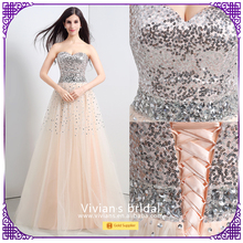 New Design Evening Gowns OEM Charming Night Dresses Sequined Formal Evening Dress with Beading SQ16113