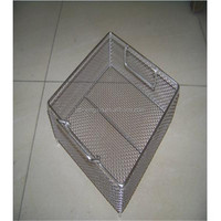 stainless steel kitchen cooking wire mesh basket with lid