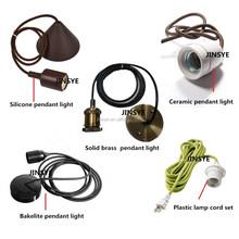 E27 ceramic/bakelite/silicon/brass light BULB socket cord set