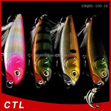 Chentilly03 CHQB5-100-16 fishing minnow lure 100mm 16g 3D eyes Playful dog pencil bait Sea bass bait Feather three anchor hook