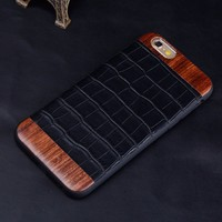 for Iphone 6 case real crocodile skin leather case with real wood for iphone 6 cover