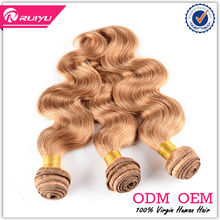 high quality full cuticle factory price Indian blonde remy wavy hair