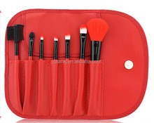 Red new beauty natural makeup brushes 7pcs in high quality bag