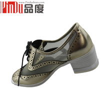 Hollowed china women shoes genuine leather flat dress shoes,classy lace up pumps shoes for women