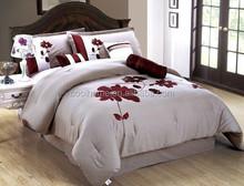 100% Polyester Brushed Comforter bedding Set Huge Flower Embroidered