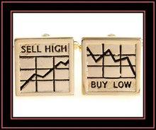 fashion mens gold tone sell high buy low cufflinks