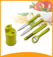 promotion gift colorful stainless steel kitchen knife set with opener and peeler