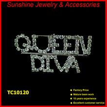 Sunshine rhinestone brooches QUEEN DIVA custom cheap rhinestone brooch for wedding in bulk