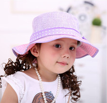 large brim little girl straw hat with bowknot