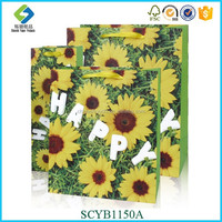 Sunflower Pattern Custom-made Paper Shopping Bag With You Our Own Logo