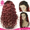 new products22inch ombre 99j cheap silk top grade 8a full lace wig with bangs