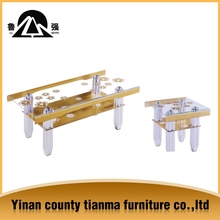 High glossy golden glass coffee table with from Tianma furniture
