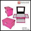 Factory Custom High Quality pink Leather Makeup Train Case
