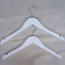 Pure White Wood Hanger for Tops, Shirts, dress