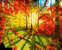 sunset forest landscape oil canvas painting by numbers GX6646 paint boy EN71-123,CE