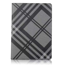 High quality Grid patern leather flip case for Apple ipad mini 4 Stand case cover