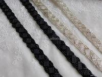 Silver Beaded Trim on White Ribbon For Bridal, Bridal Headbands