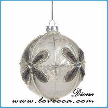 wholesale snowflake jingle bells glass ball ,unique style christmas glass ball , fashion silver christmas glass balls