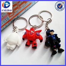 New Hot 2pcs Movie Big Hero Baymax White and Red plastic Keyrings