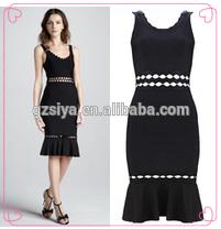 Negro hasta la rodilla Formal de corea moda de verano vestido largo