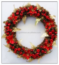 "24"" Natural Pinecone Wreath with Artificial Red Berries and Green Leaf For Christmas"