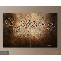 100% Handmade Group Two Pieces Coffee colored Abstract Modern Oil Paintings on canvas, Floral Facade #89594
