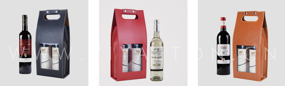 Colorful Leather Wine Carrier With PVC Window