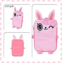 Custom girls hot fashion waterproof pu laptop lifeproof case with rabbit shape embroidered for travel