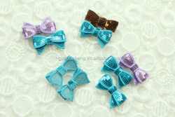 shiny sequin bow , sequin fabric hair bows