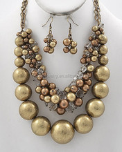 Burnished Gold Tone / Synthetic Brown Pearl / Ccb Bead / Lead&nickel Compliant / Cluster Style / Necklace & Fish Hook Earring Se