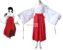 Rose Team Fast Shipping InuYasha Kikyo Miko Kimono Anime Sexy Halloween Carnival Costumes